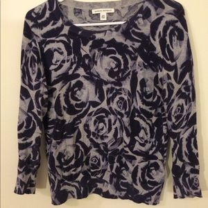Banana Republic blue and white rose sweater